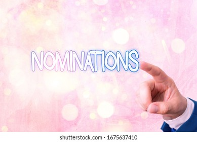 Writing note showing Nominations. Business photo showcasing action of nominating or state being nominated for prize.