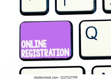 Writing note showing Online Registration. Business photo showcasing Process to Subscribe to Join an event club via Internet