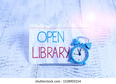 Writing note showing Open Library. Business photo showcasing online access to analysisy public domain and outofprint books.