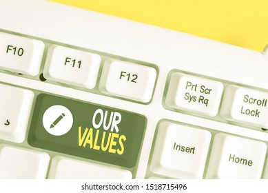 Writing note showing Our Values. Business photo showcasing list of morals companies or individuals commit to do them White pc keyboard with note paper above the white background.