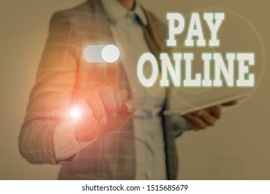 Writing note showing Pay Online. Business photo showcasing buy products or service using credit card on any website Woman wear formal work suit presenting presentation using smart device.