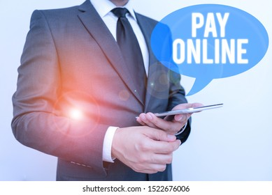 Writing note showing Pay Online. Business photo showcasing buy products or service using credit card on any website.