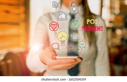 Writing note showing Pos Payment. Business photo showcasing customer tenders payment in exchange for goods and services.