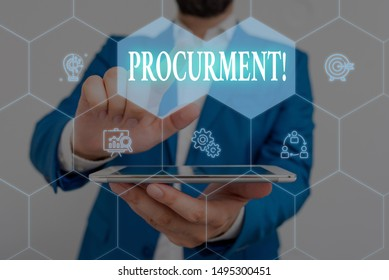 Writing note showing Procurment. Business photo showcasing action of acquiring military equipment and supplies Male wear formal work suit presenting presentation smart device.
