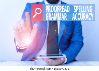 Writing note showing Proofread Spelling Grammar Accuracy. Business photo showcasing Grammatically correct Avoid mistakes Businessman with pointing finger in front of him.