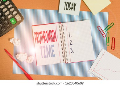 Writing note showing Prothrombin Time. Business photo showcasing evaluate your ability to appropriately form blood clots Striped paperboard notebook cardboard office study supplies chart paper.