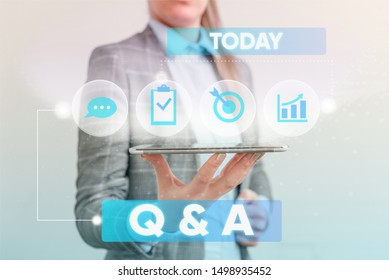 Writing note showing Q And A Question. Business photo showcasing in which demonstrating asks questions and another one answers them Female human wear formal work suit presenting smart device.