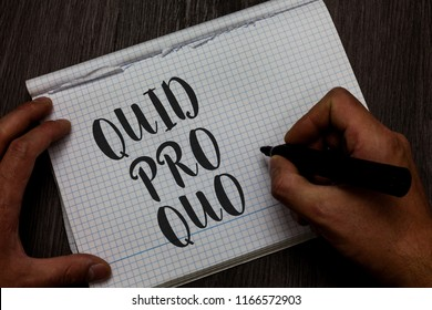 Writing note showing Quid Pro Quo. Business photo showcasing A favor or advantage granted or expected in return of something Man hand holding marker communicating ideas reflections squared paper.