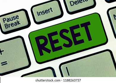 Writing note showing Reset. Business photo showcasing cause device return to its factory mode Set again zero start point