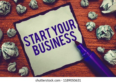 Writing note showing Start Your Business. Business photo showcasing going into a New Venture Create New Product Services