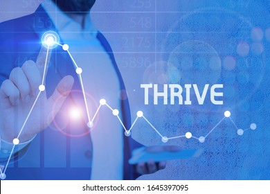 Writing note showing Thrive. Business photo showcasing Think positively Continue to prosper and flourish Time to Blossom.