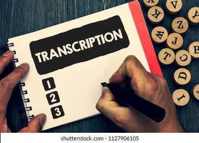 Writing note showing Transcription. Business photo showcasing Written or printed process of transcribing words text voice Creative idea paper object inspiration lovely thoughts puzzle notepad.