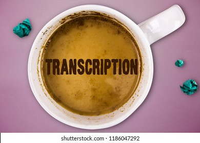 Writing note showing Transcription. Business photo showcasing Written or printed version of something Hard copy of audio