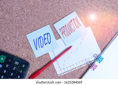 Writing note showing Video Production. Business photo showcasing process of converting an idea into a video Filmaking Desk notebook paper office paperboard study supplies chart.