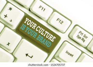Writing note showing Your Culture Is Your Brand. Business photo showcasing Knowledge Experiences are a presentation card White pc keyboard with note paper above the white background.