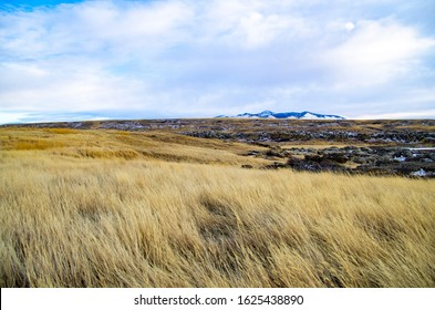 Writing on Stone Provincial Park Landscape with Hoodoos and the Sweetgrass Hills in Southern Alberta near Milk River. Taken in early spring.