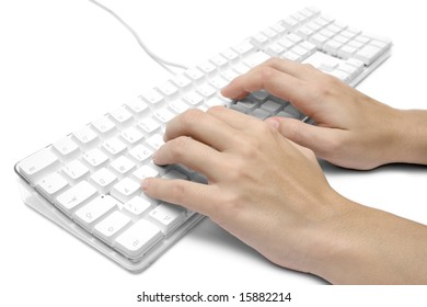 Writing on a White Computer Keyboard