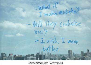 Writing on window illustrating Low self-esteem thinking