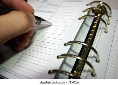 Writing in organizer