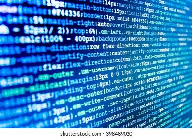 Writing programming code on laptop. Software development. Computer script.  Programming code abstract screen of software developer. Programmer occupation. Monitor photo. Programmer workplace.