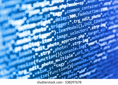 Writing programming code on laptop. Computer code data. Abstract screen of software. Notebook closeup photo. Mobile app building. SEO concepts for better SERP. New technology revolution.