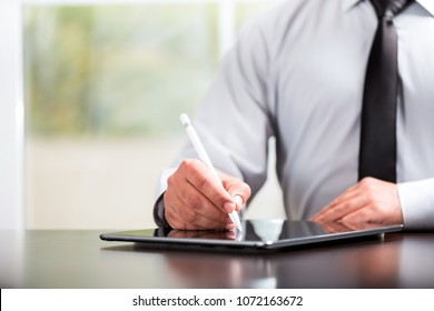 Writing or Signing on Digital Document Using Electronic Pad and Stylus Pen