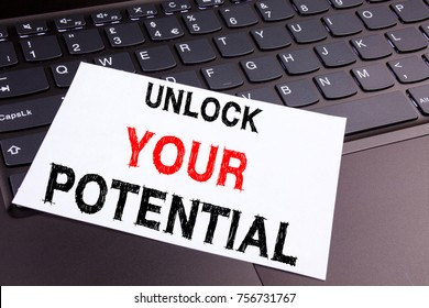 Writing text showing Unlock Your Potential made in the office with surroundings such as laptop, marker, pen. Business concept for Self-Development Improvement white background with copy space