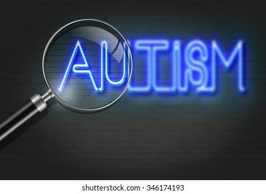 writing   words ' Autism '  on bricks  background made in 2d software