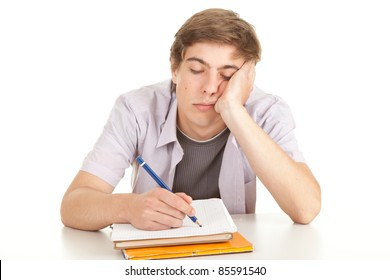 writing young male student with books, series