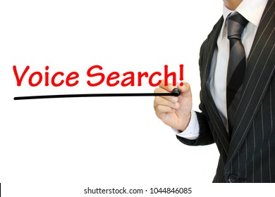 """""""Voice Search"""" written by a young businessman"""