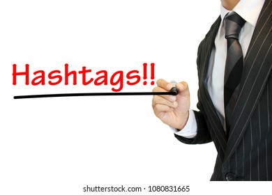 """""""Hashtags"""" written by a young businessman"""