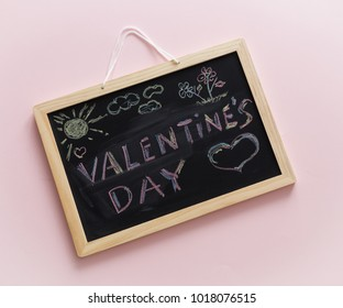 written chalk on the blackboard, Valentines Day lettering