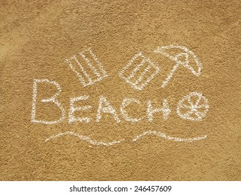 written word beach with  drawn towels and ball and sunshade