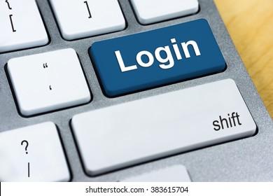 Written word Login on blue keyboard button.