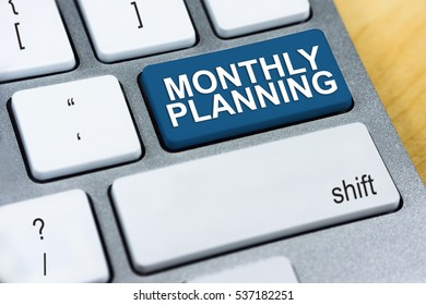 Written word Monthly Planning on blue keyboard button