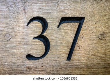 Written Wording in Distressed State Typography Found Number 37 Thirty Seven