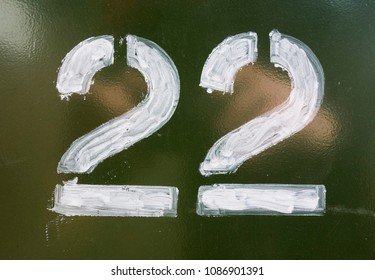 Written Wording in Distressed State Typography Found Number Twenty Two 22