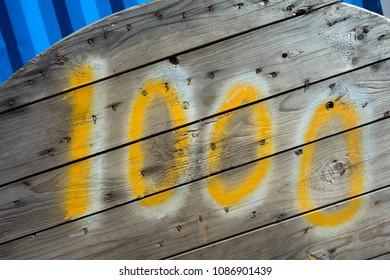 Written Wording in Distressed State Typography Found Number 1000 One Thousand