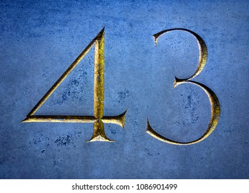 Written Wording in Distressed State Typography Found Number Forty Three