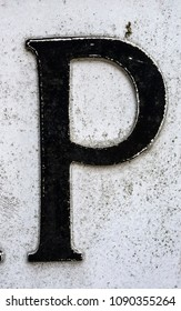 Written Wording in Distressed State Typography Found Letter P