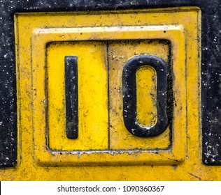Written Wording in Distressed State Typography Found Number 10 Ten