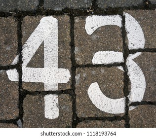 Written Wording in Distressed State Typography Found Number Forty Three 43