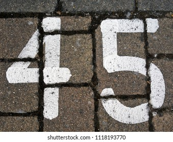 Written Wording in Distressed State Typography Found Number 45 Forty Five