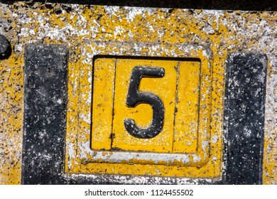 Written Wording in Distressed State Typography Found Number Five 5