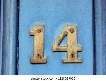 Written Wording in Distressed State Typography Found Number Fourteen 14