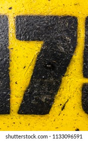 Written Wording in Distressed State Typography Found Number 7 Seven