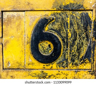 Written Wording in Distressed State Typography Found Number Six 6