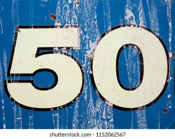 Written Wording in Distressed State Typography Found Number Fifty 50