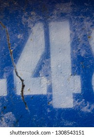 Written Wording in Distressed State Typography Found Number Four 4