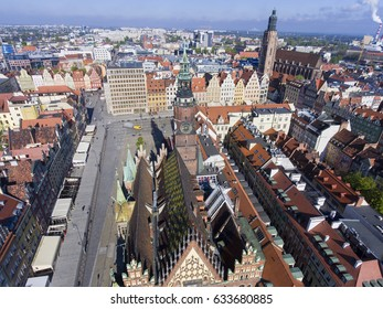 Wroclaw aerial view, old town cityscape